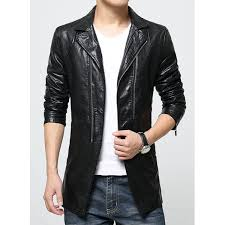 multi zipper inclined top fly patch pocket turn down collar long sleeves men s pu