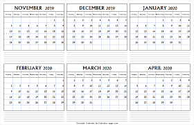 April 2020 Template November 2019 Through April 2020 Calendar Editable Image