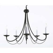 black metal chandelier. Versailles 5-Light Black Iron Chandelier Metal The Home Depot