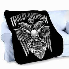 Harley Davidson Fleece Throw Blanket