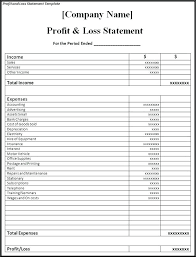 Profit And Loss Statement Template Free Letscookveganinfo