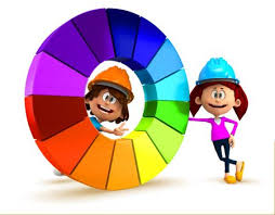 Basic Color Chart For Kids 3d Kids With A Color Chart Having Fun Isolated Over White