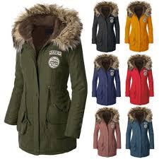 new women s warm long coat fur collar hooded jacket slim winter parka outwear gw