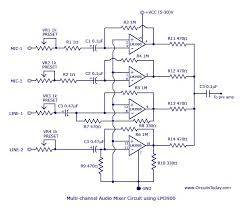 muti channel audio mixer circuit based on lm3900 ic four channels circuit diagram lm3900 audio mixer