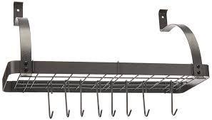 Kitchen Pot Rack Amazoncom Rack It Up Bookshelf Wall Rack Steel Gray Kitchen