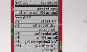 stock photo nutrition facts label for kelloggs froot loops cereal
