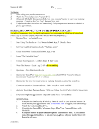 Herbalife Connections Distributor Checklist