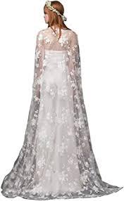 kelaixiang Women Ivory Long Cloak Wedding Bridal Jackets Cape Custom Top  Lace Tulle Elegant at Amazon Women's Clothing store