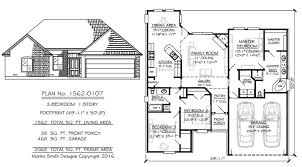 1 story 3 bedroom 2 bathroom 1 dining area 1 family room 2 car garage 1562 square feet house plan monte smith designs house plans