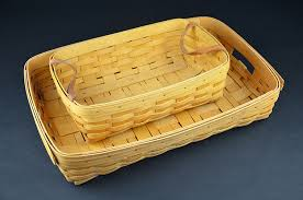 woven wood basket. Perfect Wood American Longaberger HandWoven Wooden Baskets Double Handle Set Pair Of  1998 1999 For Woven Wood Basket A