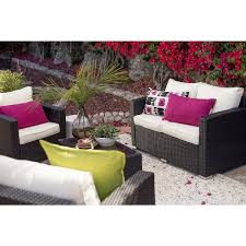 chairs the hom vomo 4 piece white black outdoor wicker coversation patio set