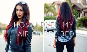 How I Dyed My Hair Ombre Red Without Bleach Youtube Black Black And Red Hair On The Bottom L