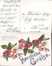 451625künstler Ak Herzliche Grüße Spruch Text Blumen Ansichtskarten