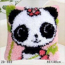 animal latch hook needlework cross stitch carpet diy embroidery acrylic fiber pillow cover creative panda pattern gift pillow case outdoor settee cushions