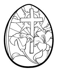 Easter Egg Coloring Pages Printable Lilies And Cross Easter Egg