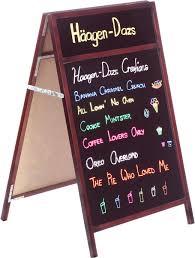 Chalkboard Menu Board 24 X 28 A Frame Chalkboard Black Surface For Wet Erase Headers 2 Sided Mahogany