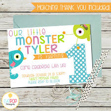 Lil Monster Birthday Invitations Little Monster Birthday Invitation First Birthday 1st Birthday