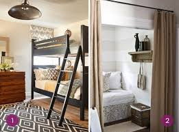 tiny bedroom nook. Grown Up Bunk Beds, And A Striped Bed Nook Hidden Behind Curtain. Tiny Bedroom I