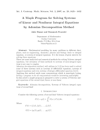 pdf a maple program for solving systems of linear and nar integral equations by adomian decomposition method