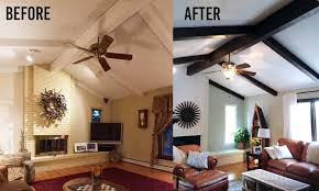 have wood beams in your home that have been painted and you want to make them look like again no need sand or use a stripper gel stain works ceiling living room y29 beams