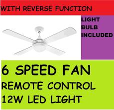 arlec 130cm boston fan ceiling with led light remote control 6 sd 30w dc