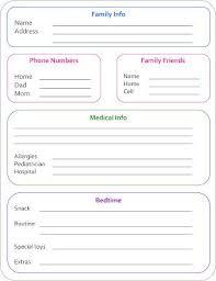 babysitter information sheet printable babysitter info sheet allergies for sps dairy organize my