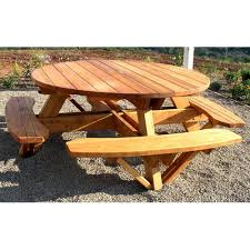round outdoor picnic tables round wood picnic table