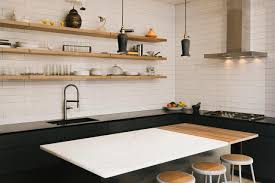 modern black and white kitchen with wooden floating shelving popular wooden kitchen wall shelves