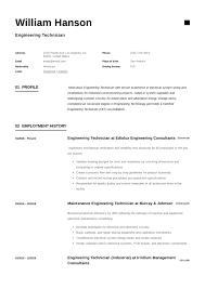 Engineering Technician Resume Writing Guide 12 Templates