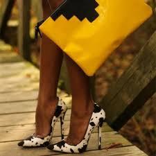 <b>Black and White</b> Heels <b>Cow</b> Print Stiletto Heel Pumps for Date ...
