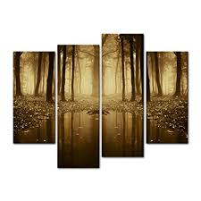 4 pieces modern canvas painting wall art the picture for home decoration fairytale lake in a on wall art pieces with amazon 4 pieces modern canvas painting wall art the picture for