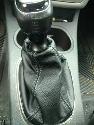 shifter boot for a cobalt ss supercharged from redlinegoods com with light grey thread on black leather