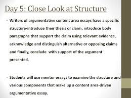 argumentative essay immersion ppt video online day 5 close look at structure