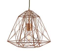 searchlight geometric cage 1 light pendant light copper finish 7271cu