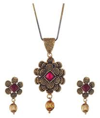 zeneme red stone flower shaped gold plated pendant set with earring for women