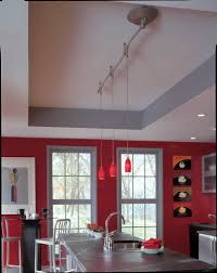 illuma flex support stem pendant with red glass track in brushed nickel home community