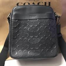 Authentic Coach Charles Flight Bag In Signature Crossgrain Leather F11741 -  Black