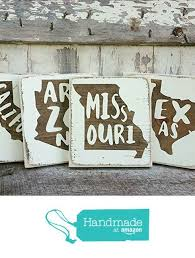 wood sign glass decor wooden kitchen wall: mini rustic wood signs whitewash state signs home state decor personalized state sign