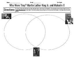 Mlk Vs Malcolm X Venn Diagram Martin Luther King And Malcolm X Venn Diagram Civil Rights Movement