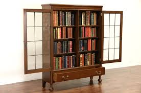 walnut 1920 antique library bookcase leaded glass doors