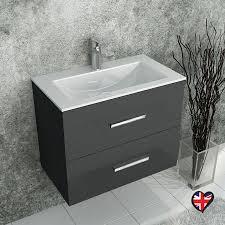 sonix grey wall hung 610 unit 2 drawers ceramic basin 1