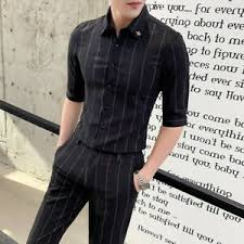 Shirts With Pants Details About Mens Striped 2 Piece Suits Shirts Pants Slim Fit Lapel Button Front Formal Chic