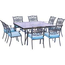 hanover traditions 9 piece aluminum outdoor dining set with square glass top table with