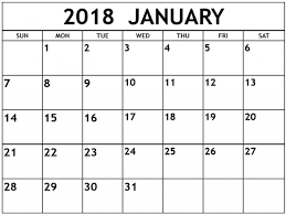 mothly calendar january 2018 monthly calendar