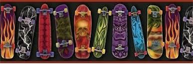 Skateboards Designs Skateboards Designs On Black With Red Edge On Easy Walls Wall Border Gu92052b 10976920523 Ebay