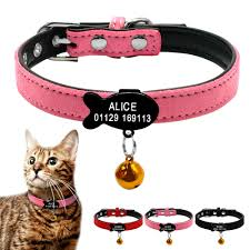 details about soft suede leather personalized cat kitten collars with bell free engraved name