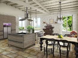 White Exposed Brick Wall Rustic Small Country Kitchen With Modern Furniture And False