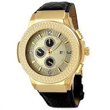 jbw saxon gold dial diamond gold tone black leather watch men s watch jb 6101l