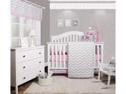 6 piece pink grey chevron baby girl