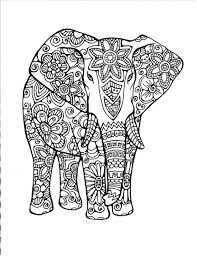 coloring page original hand drawn art in black and white instant digital image of an elephant